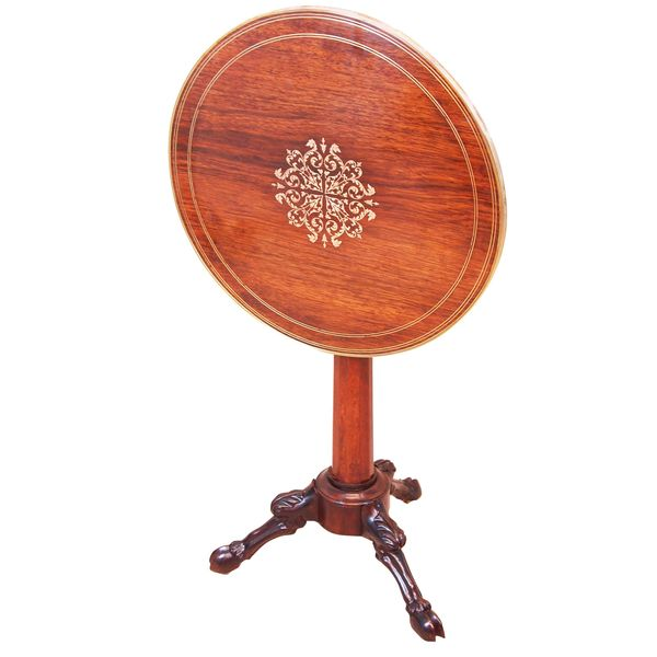 19th Century French Rosewood Circular Lamp Table
