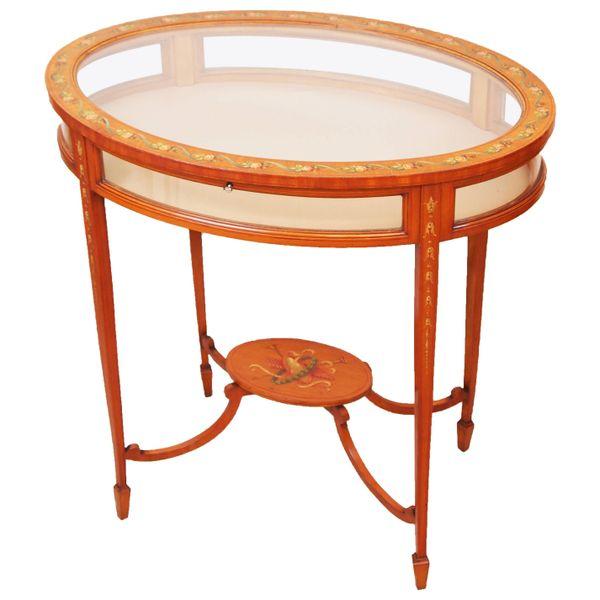 Antique Edwardian Satinwood Oval Bijouterie Table