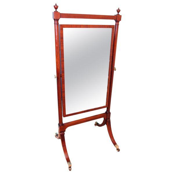 Antique Georgian Mahogany Cheval Dressing Mirror