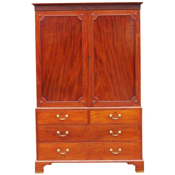 English Mahogany 18th Century Antique Georgian Linen Press