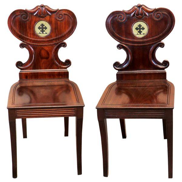 Mahogany English Regency Pair of Antique Hall Chairs