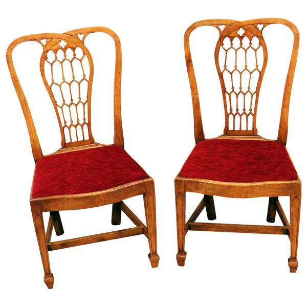 18th Century Pair of Fruitwood English Side Chairs
