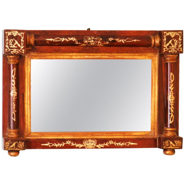 Regency English Rosewood And Gilt Wall Mirror