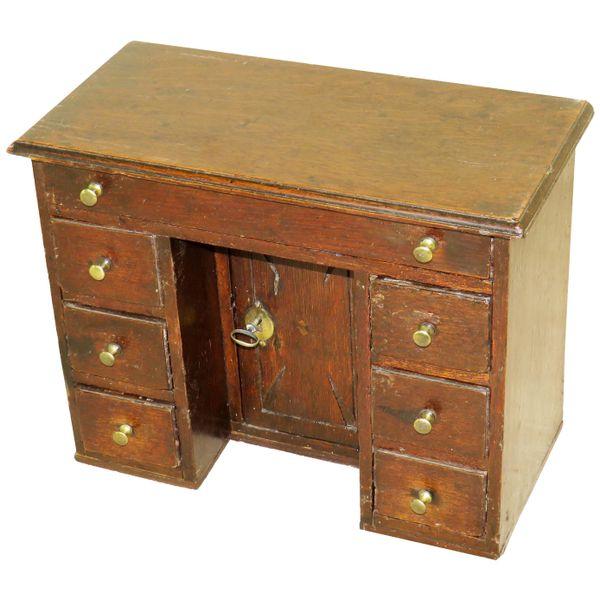 English Mid-18th Century Miniature Oak Kneehole Desk