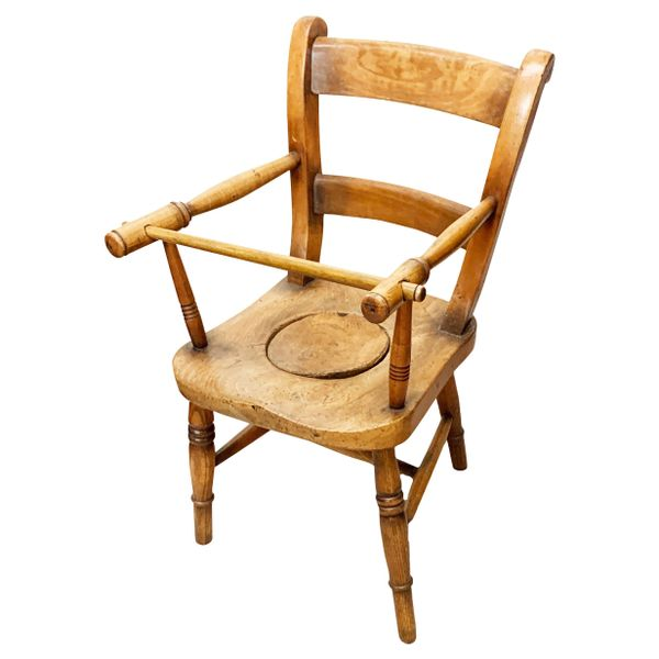 19th Century Ash and Beech Childs Commode Chair