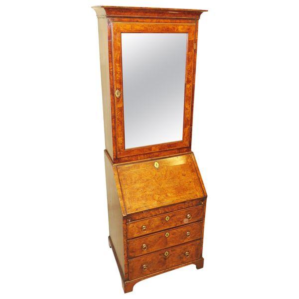 18th Century Rare Small Georgian Walnut Bureau Bookcase