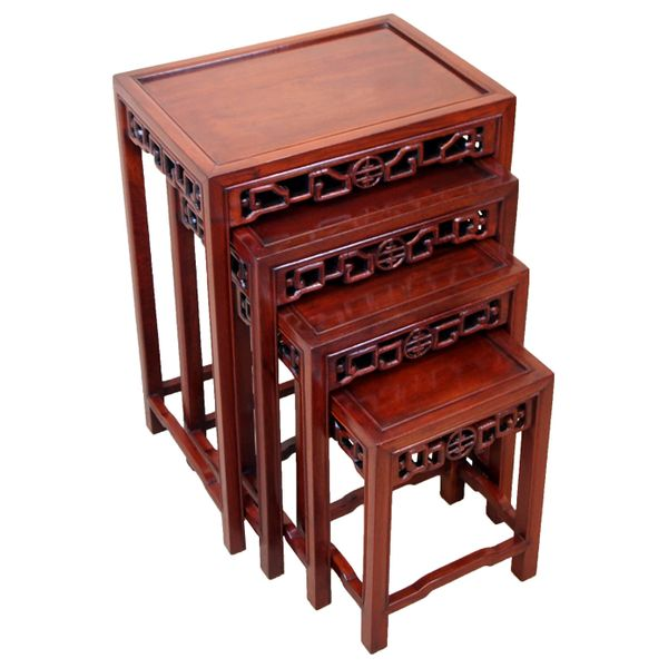 Nest of Four Antique Oriental Hardwood Coffee Tables