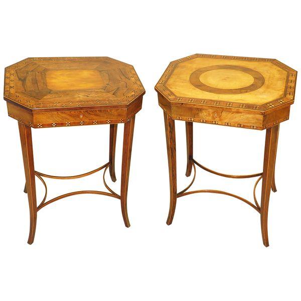 Fine Pair of 18th Century Sheraton Period Georgian Work Tables