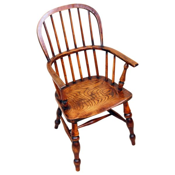 19th Century Ash and Elm Childs Windsor Armchair