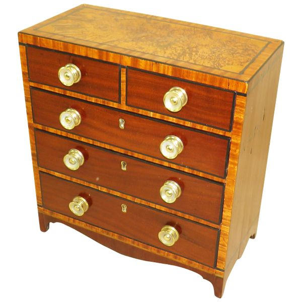 Regency Mahogany and Satinwood Miniature Chest of Drawers