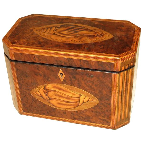 Georgian 18th Century Burr Yew Wood Octagonal Tea Caddy