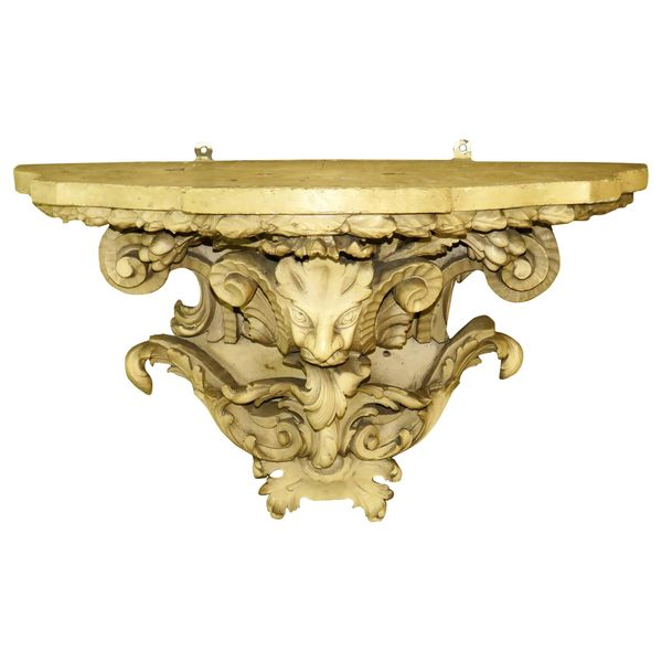 19th Century European Carved and Painted Wall Bracket