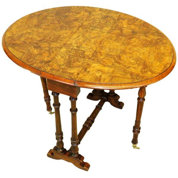 19th Century Burr Walnut Baby Sutherland Table