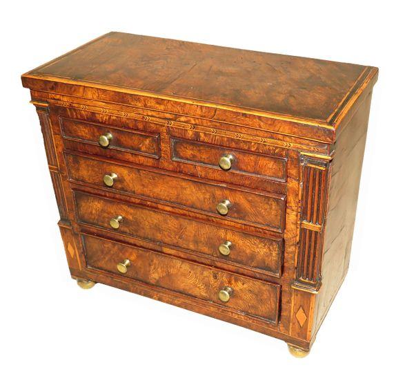 Late Regency 19th Century Burr Oak Miniature Chest of Drawers
