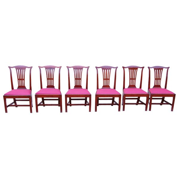Antique Set of Six Mahogany Georgian Chippendale Period Dining Chairs