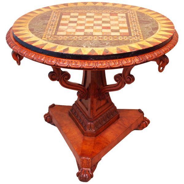 English 19th Century William IV Satinwood & Pietra Dura Marble-Top Centre Table