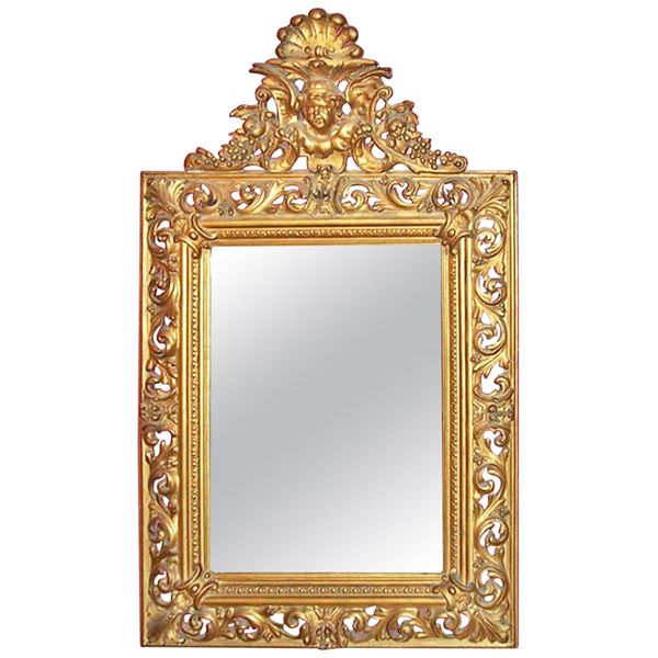 Mid-19th Century Italian Giltwood and Gesso Wall Mirror