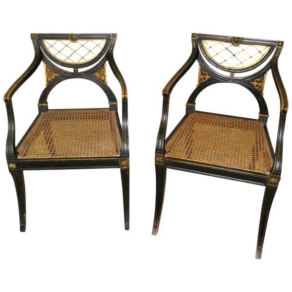 Regency 19th Century English Pair of Desk Armchairs