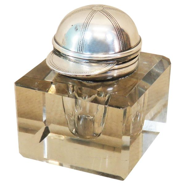 Late 19th Century Silver and Glass Inkwell from Asprey & Sons